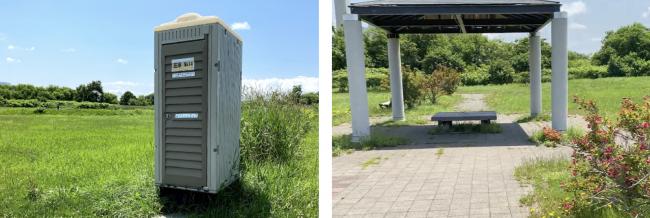 豊平川緑地バスケットコート仮設トイレ・あずまや