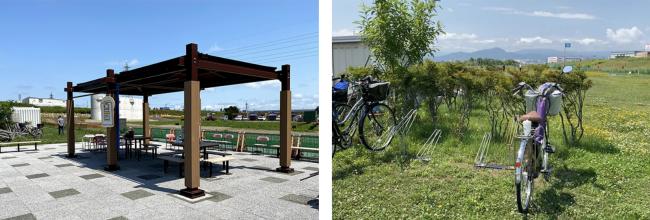 豊平川緑地あずまや・駐輪場