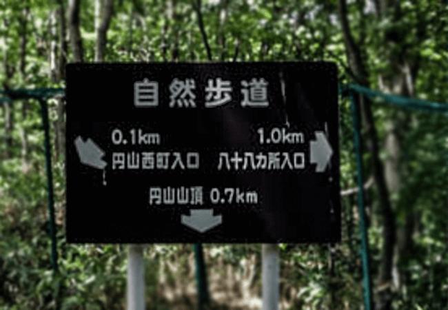 円山登山動物園ルート分岐点案内板
