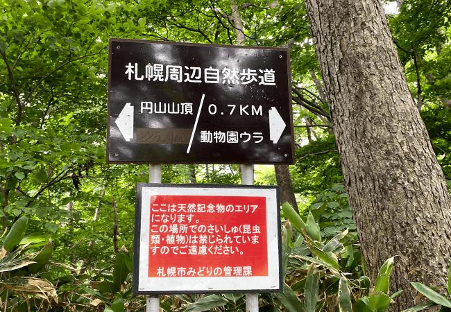 円山登山八十八カ所登山道案内板